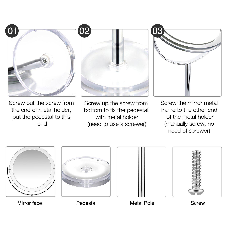 Beautifive Miroir Maquillage grossissant 7X et 1x Pivot /à Deux c/ôt/és Miroir cosm/étique avec Support pour Rasage Salle de Bain Salle Salon Style r/étro Miroir Vanity de Table Rotation 360/°