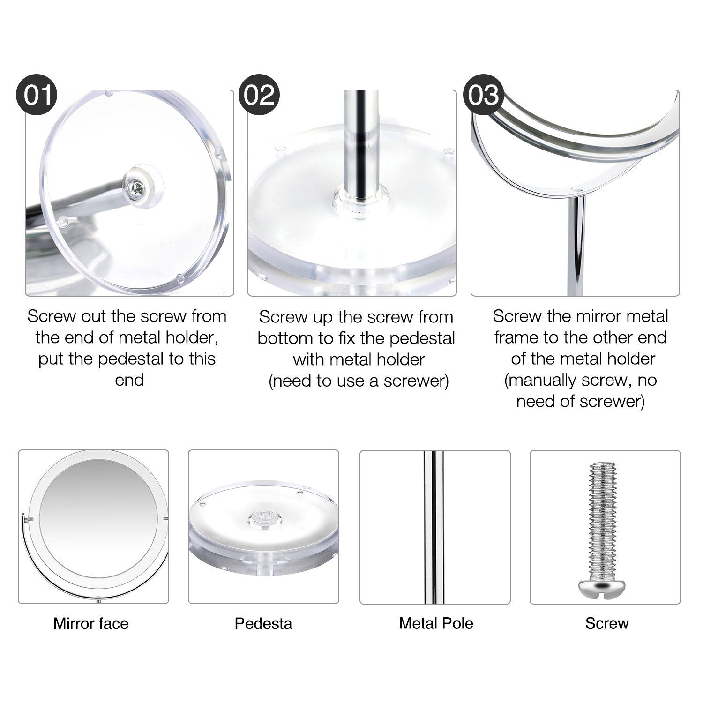 Beautifive miroir maquillage grossissant 7x et 1x pivot à deux côtés , miroir vanity de table rotation 360°, miroir cosmétique avec support pour rasage salle de bain salle salon, style rétro