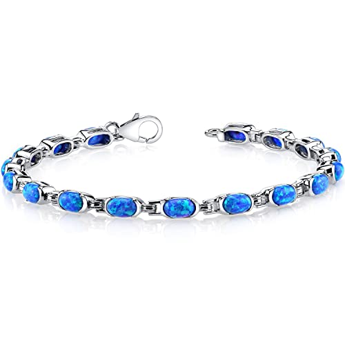 Peora Created Blue Opal Tennis Bracelet Sterling Silver Oval Cut 4.75 Carats