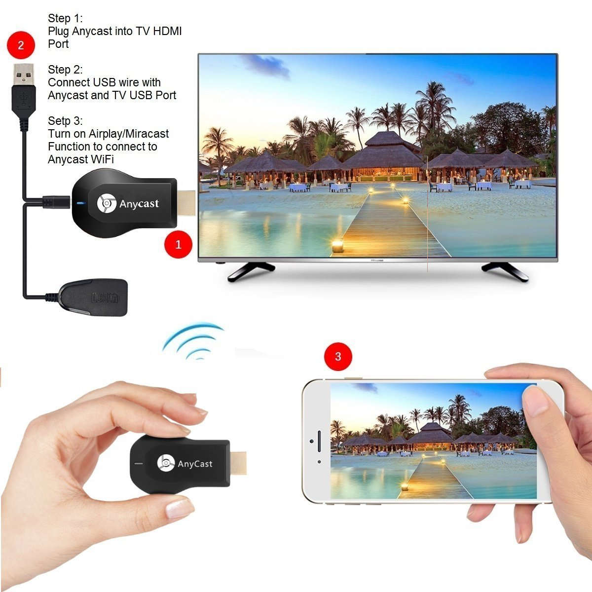Wifi Display Dongle Wireless Hdmi 1080p Airplay Anycast Ezcast Receiver Hd Mirroring Digital Av To Connector For Ios Android Samsung Iphone Ipad