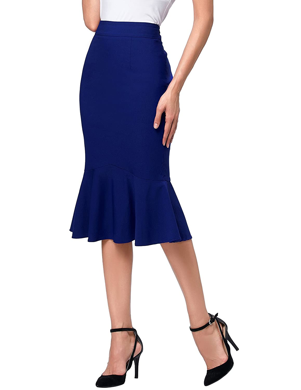 Agent Peggy Carter Costume, Dress, Hats Kate Kasin Womens Wear to Work Stretchy Pencil Skirts $16.79 AT vintagedancer.com