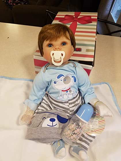 JOYMOR 22 Inch Reborn Baby Doll Birthday Gift Vivid Real Looking Dolls Full Silicone Vinyl Lifelike Realistic Child Growth Partner Washable Soft Body Lovely Simulation Fashion He has hair!