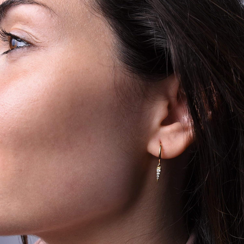 Small Round Cuff Stud//Tiny Loops Spike Huggie - Dainty Crystal CZ Drop Pendant Mini Hoop Earrings .925 Sterling Silver