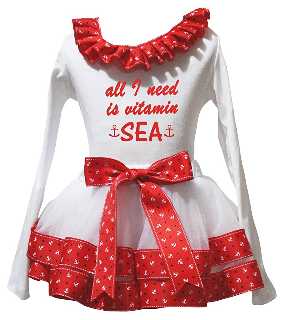 Petitebella All I Need Is Uitamin White L//S Shirt Sailor Petal Skirt Set Nb-8y
