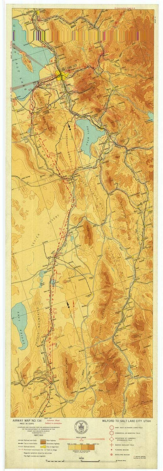 Milford Utah Map.Amazon Com Vintography Reprinted 8 X 12 Nautical Map Of Airway Map