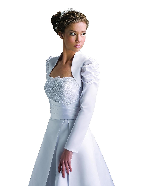 Brautkleid Bolero Jacke Brautjacke langarm aus Satin - E102: Amazon ...
