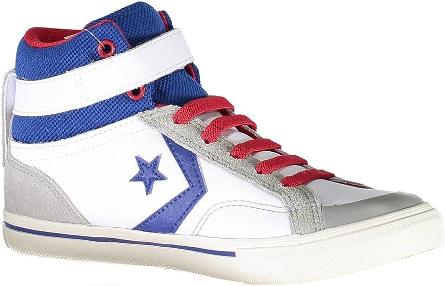 Converse Chaussures All Star Homme Pro Flamme dans la Peau Blanche et Bleu 655095C