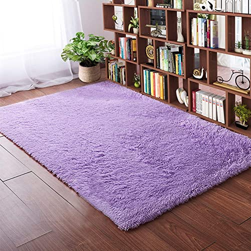 Softlife Fluffy Area Rugs for Bedroom 4 x 5.3 Shaggy Floor Carpet Cute Rug for Girls Kids Living Room Nursery Home Decor, Purple
