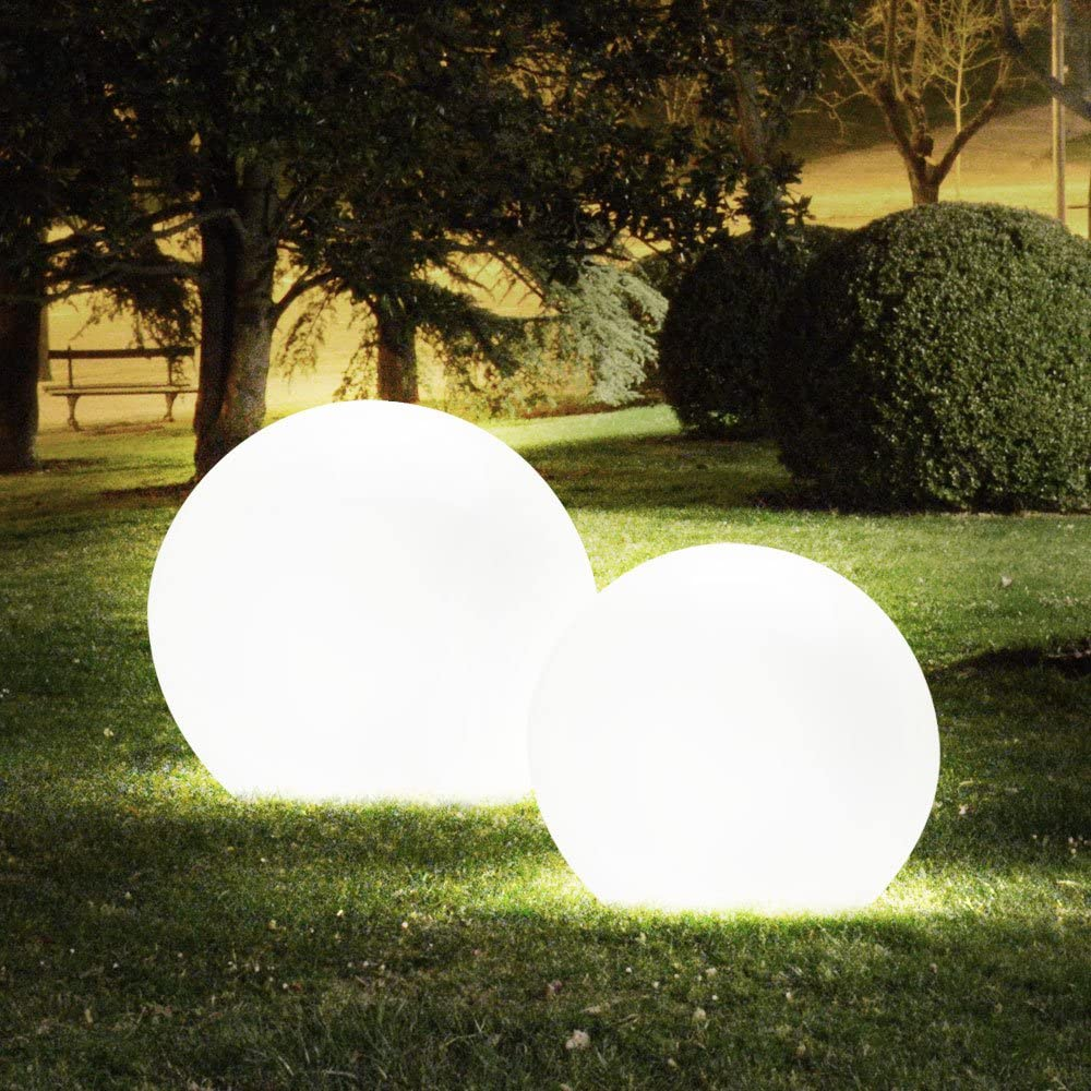 Luxus Steck Au/ßen Lampe Kugel Form Grundst/ück Hof Beleuchtung D 35 cm im Set inklusive 7 Watt LED Leuchtmittel