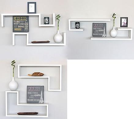 SET 6 MENSOLE DESIGN Salotto Mensola a Parete Libreria Muro ...