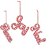 Candy Cane Cristmas Holiday Words Ornaments - 3 Pieces
