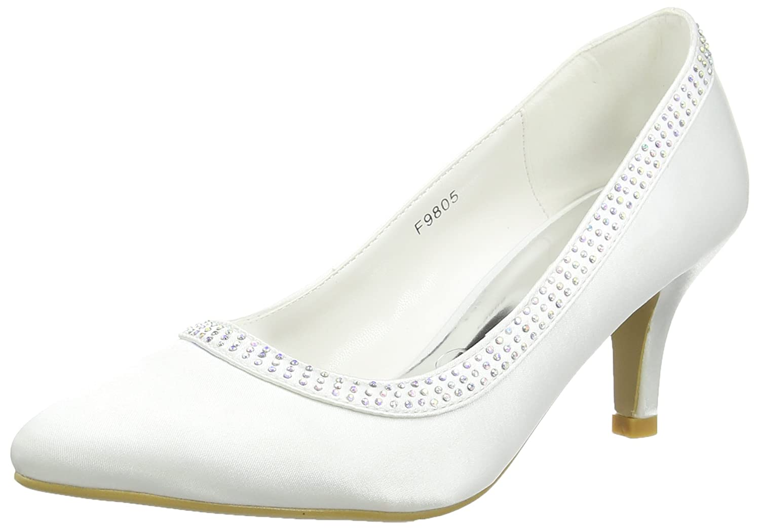 TALLA 39 EU. Spot On Diamante Trim 'Wedding' Court - Zapatos punta cerrada de satén para mujeres