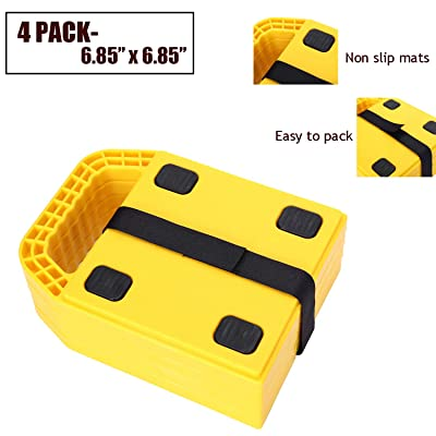 "Homeon Wheels RV Jack Pads Camper Chock Blocks Trailer Leveling Jack Stabilizer Help Prevent Jacks from Sinking, 6.85"" x 6.85"" (4 Pack): Automotive"