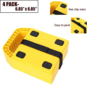 "Homeon Wheels RV Jack Pads Camper Chock Blocks Trailer Leveling Jack Stabilizer Help Prevent Jacks from Sinking, 6.85"" x 6.85"" (4 Pack)"