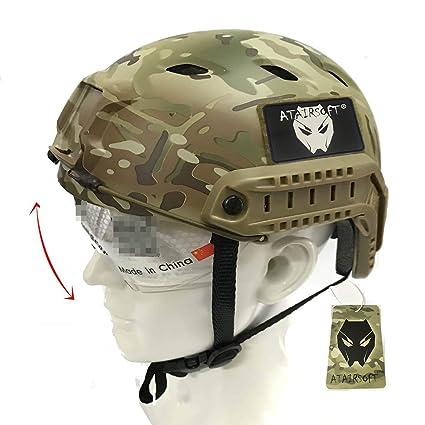 Worldshopping4U Ejército Estilo Militar SWAT Combate BJ Base saltan rápido Casco w/Gafas Protectoras para Tiro CQB para Paintball