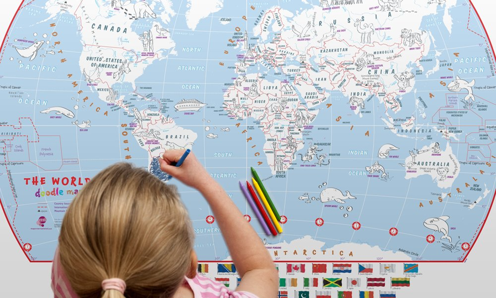 Doodle colouring world map for kids kids world map for the doodle colouring world map for kids kids world map for the adventurer world map poster with crayons 84 x 59 amazon kitchen home gumiabroncs Choice Image
