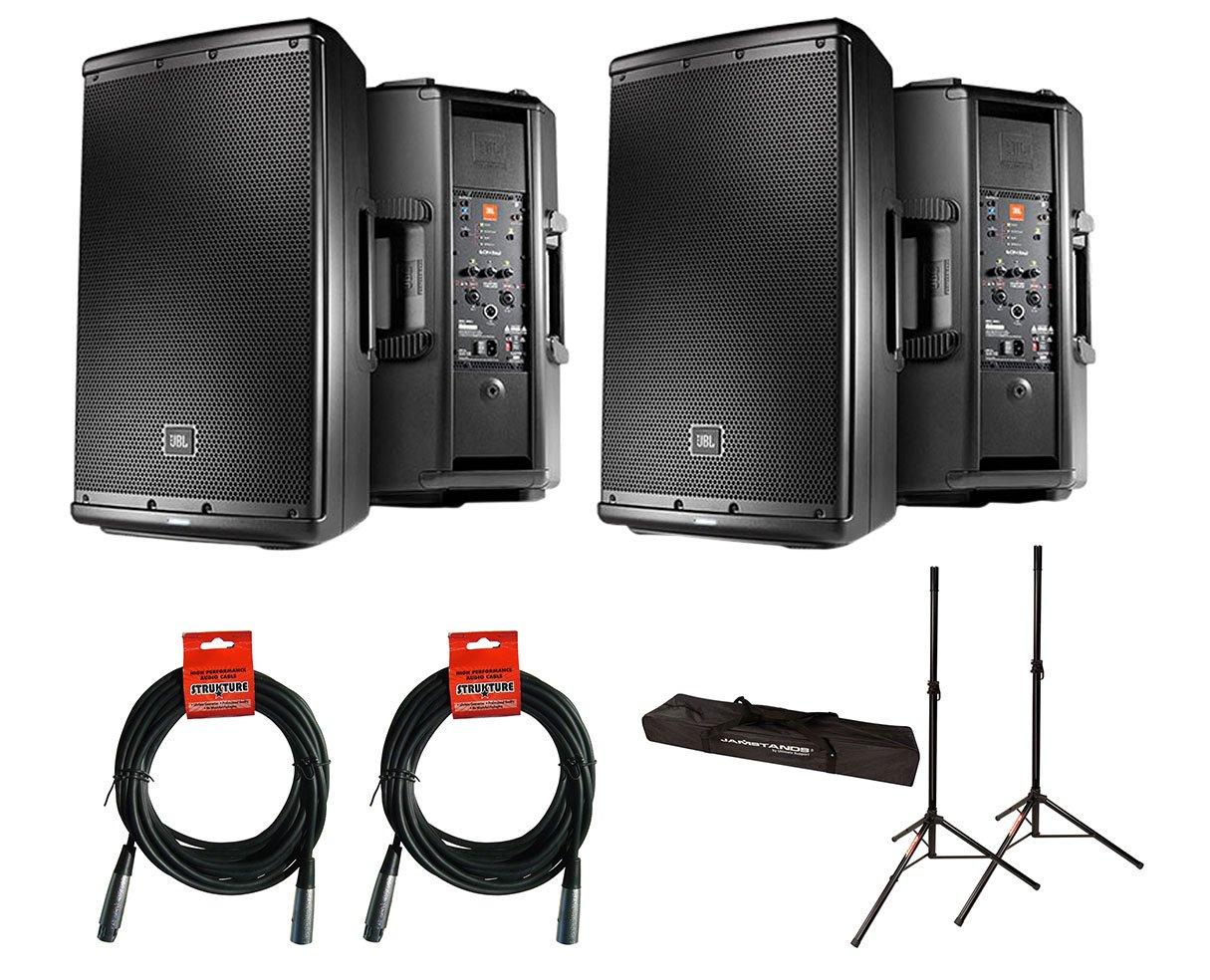 2x JBL EON612 + Stands w/ Bag + Cables