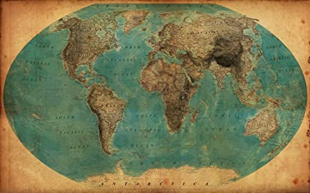 Vintage Retro World Map 1930 S Decorative Quality Poster In All