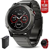 Garmin Fenix 5 Sapphire Multisport 47mm GPS Watch Slate Gray with Metal Band (010-01688-20) with Universal USB Travel Wall Charger, Silicon Wrist Band for Garmin Fenix 5 & 1 Year Extended Warranty