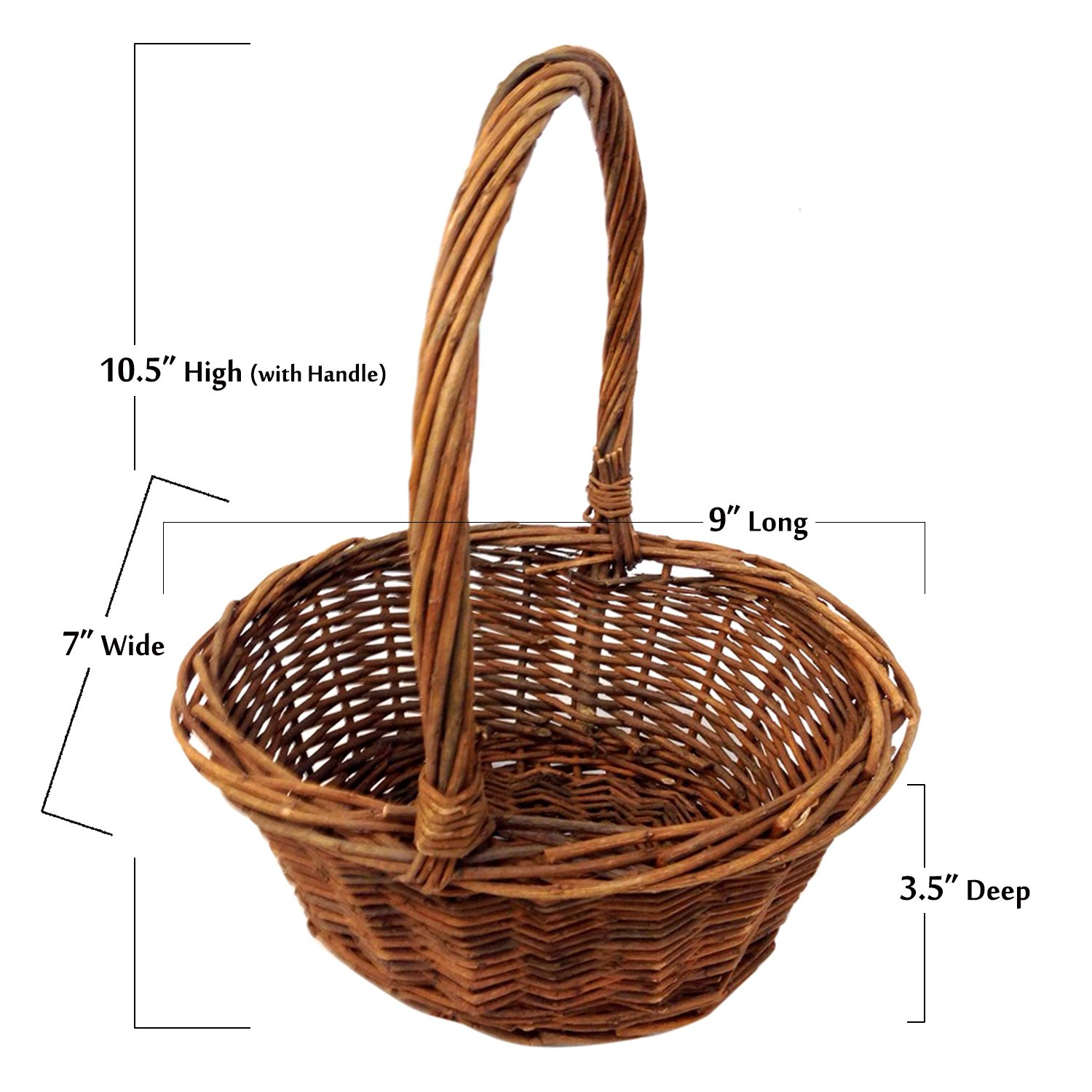 Amazon royal imports oval shaped small willow handwoven amazon royal imports oval shaped small willow handwoven easter basket 9l x7w x35h 105h w handle braided rim with plastic insert izmirmasajfo
