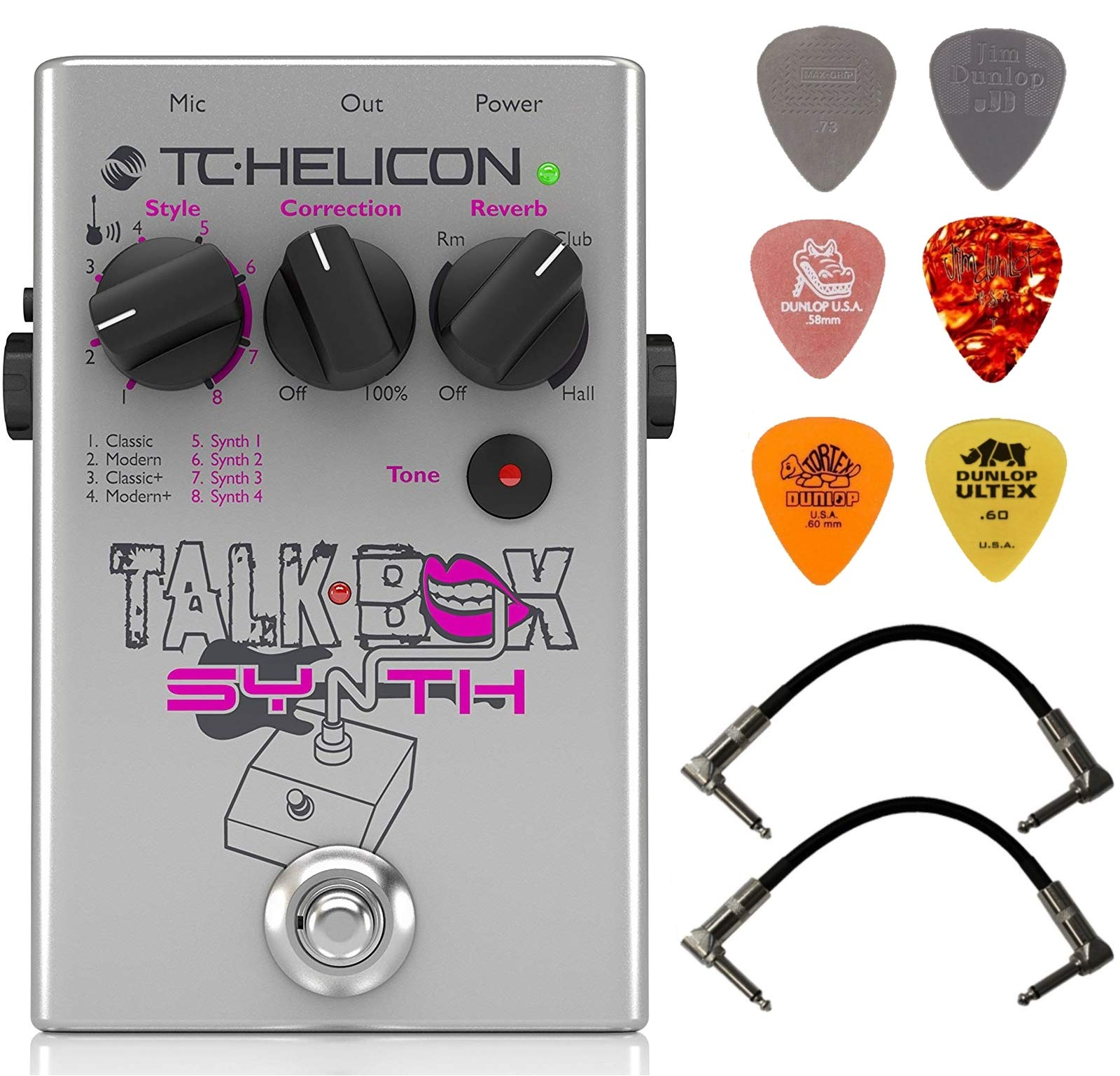 TC Helicon TalkBox Synth Guitar and Vocal Effects Processor Bundle with 2 Patch Cables and 6 Guitar Picks