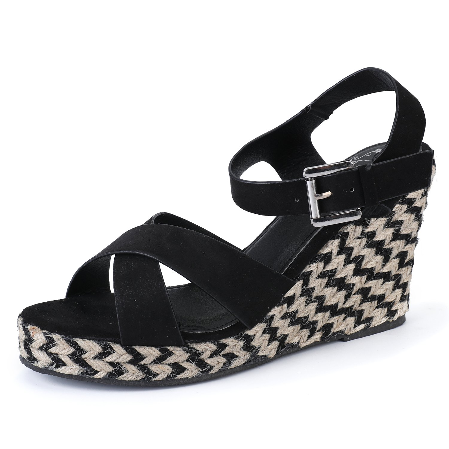 0ea91d7cb5e Alexis Leroy Women s Open Toe Cross Strap Wedge Espadrille Sandals