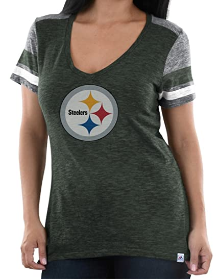 75a3bf3f Majestic Pittsburgh Steelers Womens Classic Moment V-Neck Tee (Small)