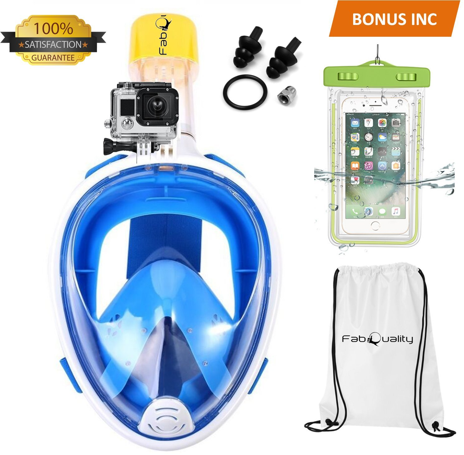 FabQuality Full Face Snorkel Mask, 180° Panoramic View, GoPro Compatible, Anti-Fog and Anti-Leak Design, for Adults and Kids Plus Waterproof Smartphone Case & Sports Gear Bag