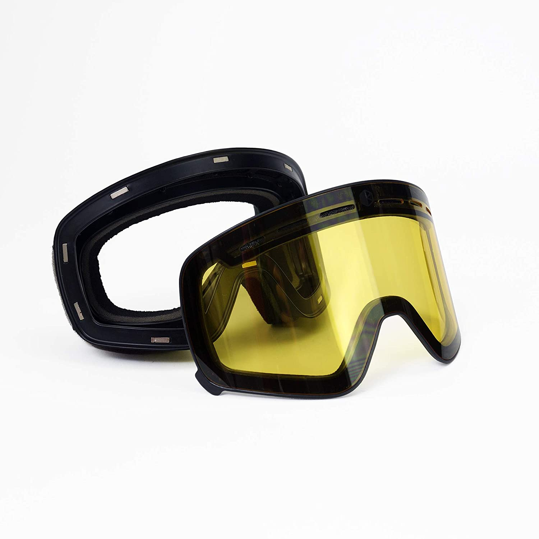 Bearz Atlas Neve Snowboard Occhiali da Sci Specchio Anti-Nebbia con Snap Magnetico Lens e Ulteriori Lens Giallo