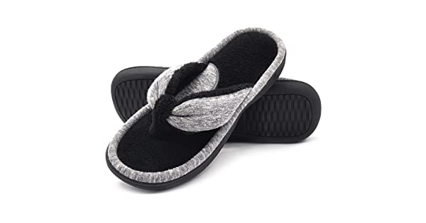 395cb3f25ae481 comWishcotton Women s Adjustable Memory Foam Spa Thong House Shoes Fluffy  Flip Flop Slippers (M