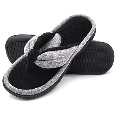 8ab6f65dfb8 Wishcotton Women s Adjustable Memory Foam House Spa Thong Slippers ...