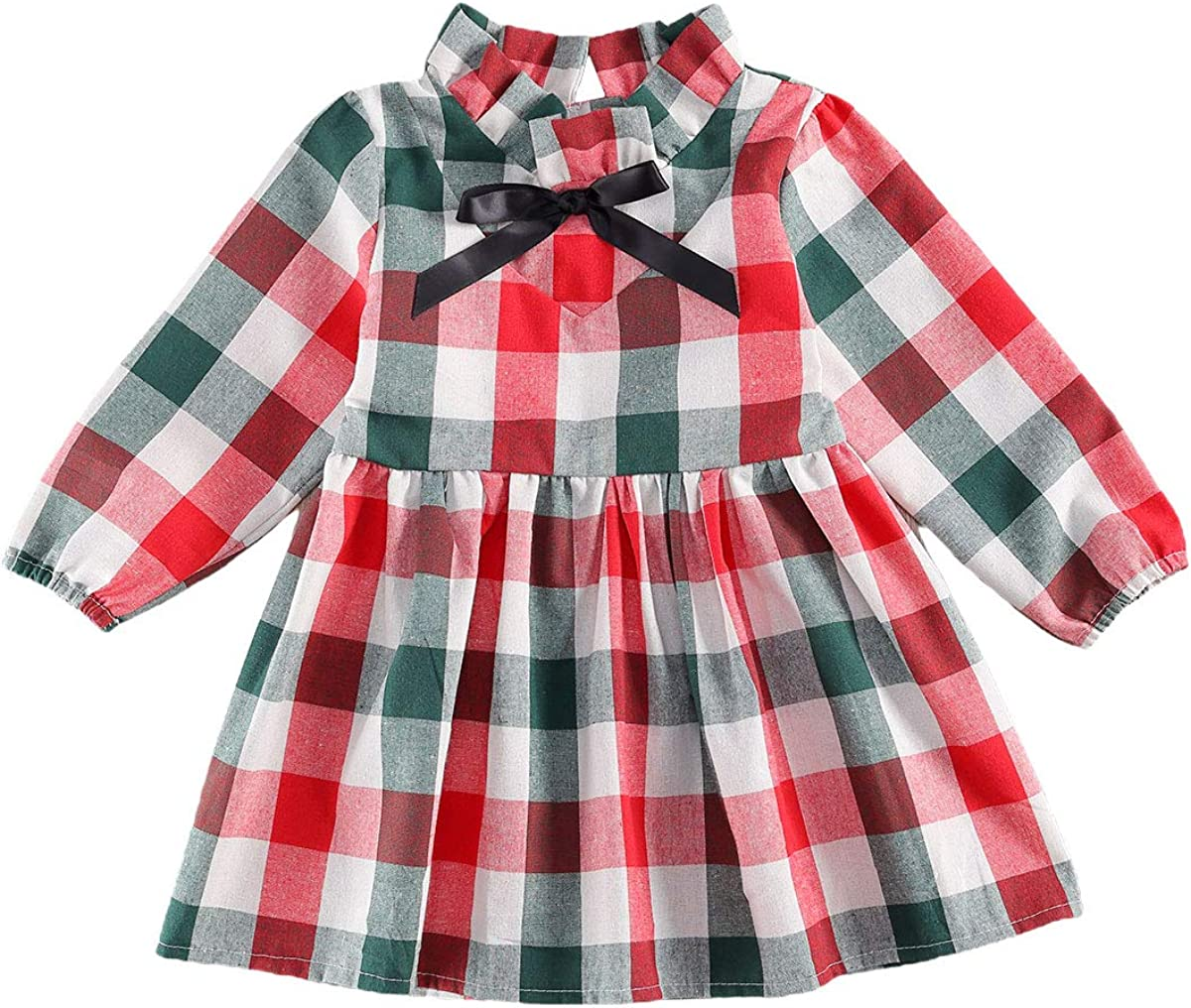 Toddler Kids Baby Girls Plaid Outfit Long Sleeve Plain Overall Dresses with  Headband Infant Casual Fall Clothes