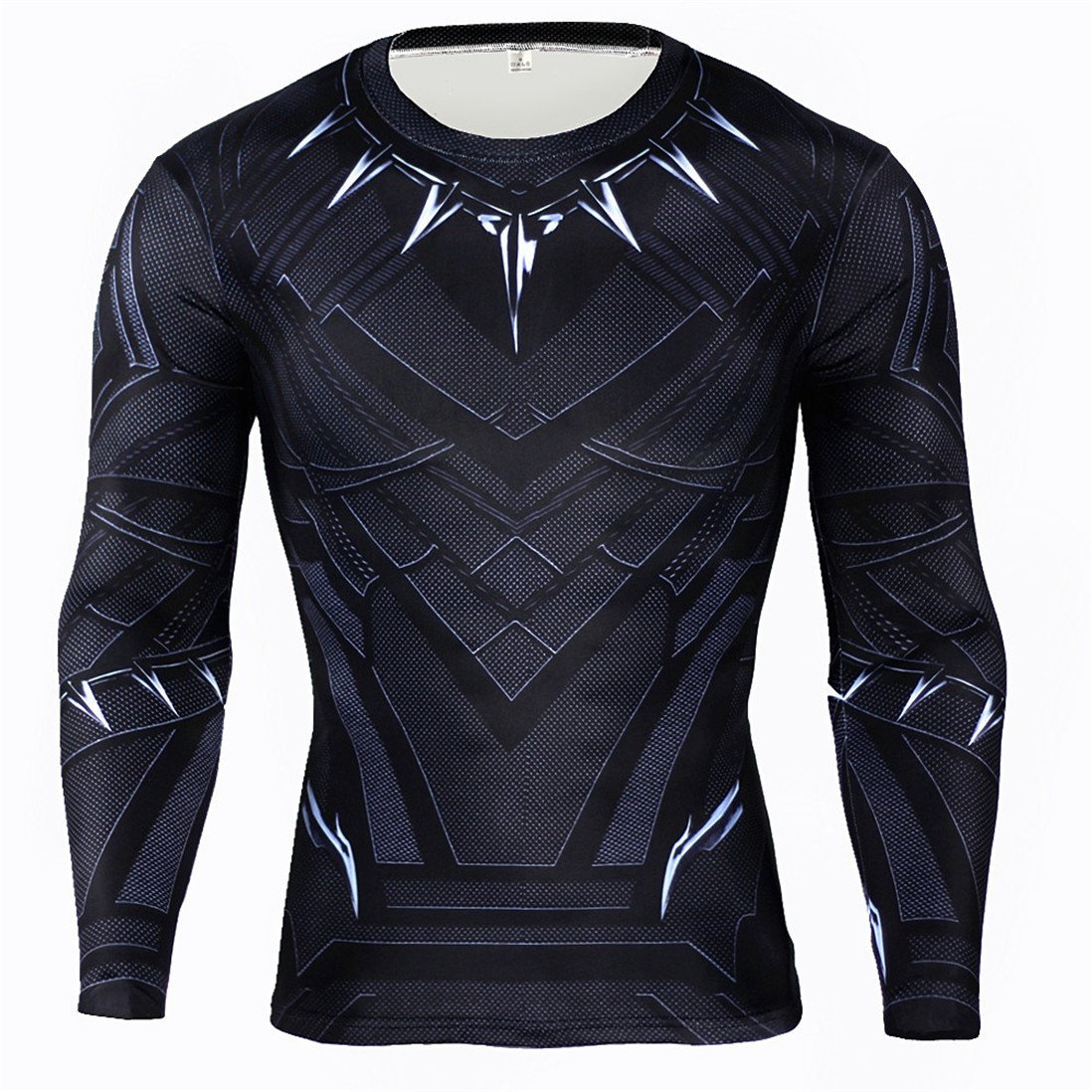 HIMIC E77C Hot Movie Super Hero Quick-Drying ElasticT-Shirt Costume (Medium, Black Panther Long Sleeve)