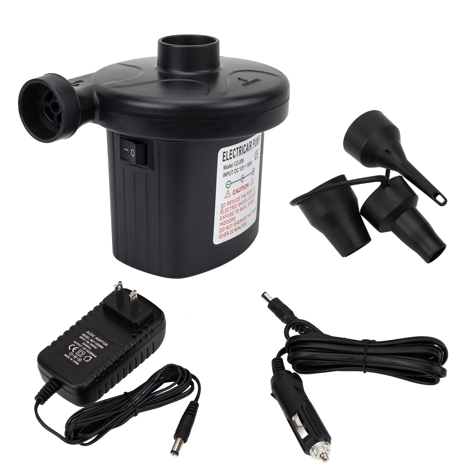 ZONEBOM Electric Quick-Fill Air Pump 110V AC/12V DC Portable Air Pump for Inflatable Deflating Air. Household and Car use and can be used in The Swimming Ring, the Inflatable Bed etc/Not for balloons