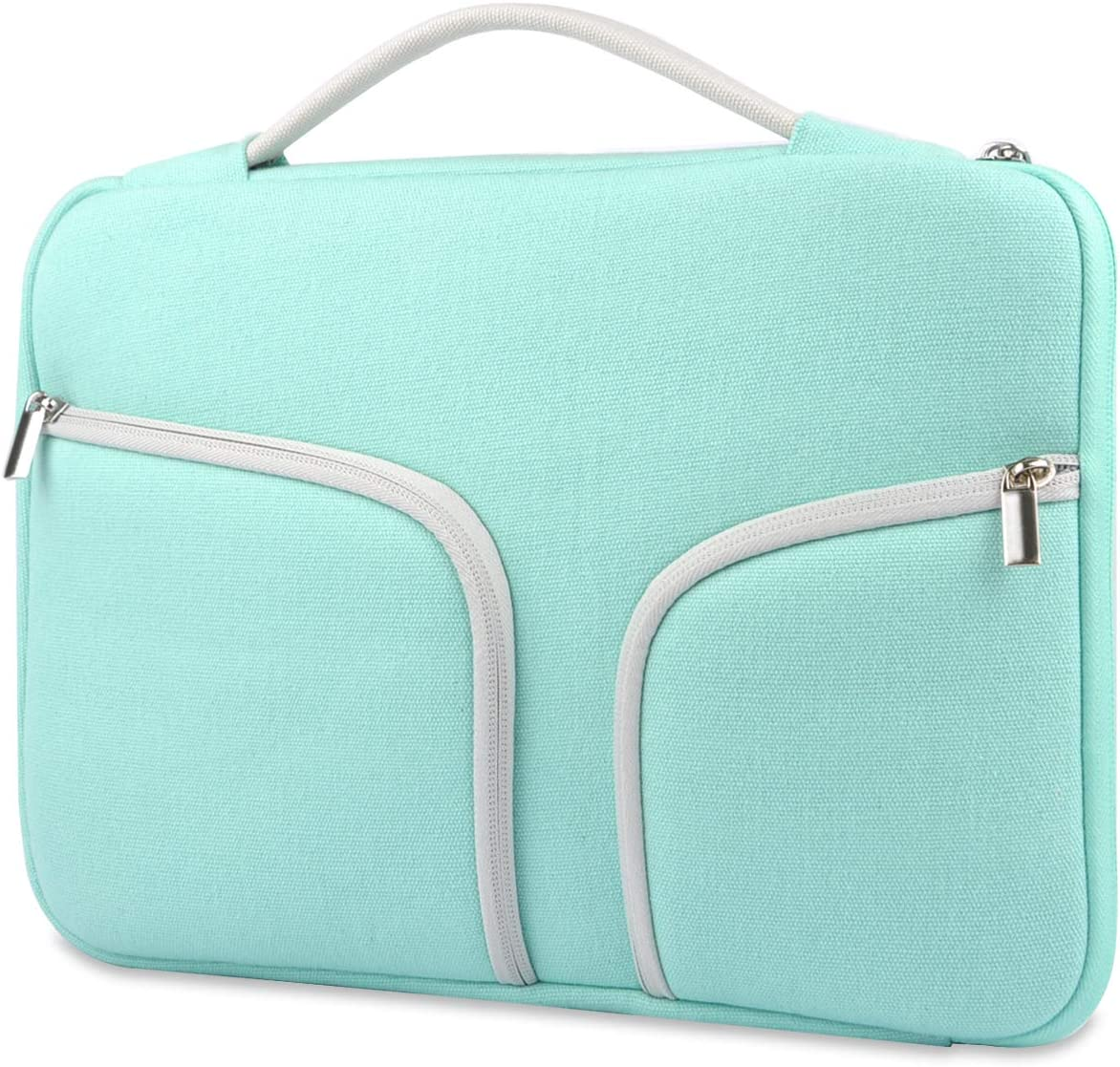 HESTECH Chromebook Case,11.6-12.5 inch Canvas Laptop Sleeve Bag Handle Front Pockets Compatible with Acer ASUS Dell HP Lenovo Thinkpad Yoga Samsung Toshiba MacBook air Microsoft Surface,Green
