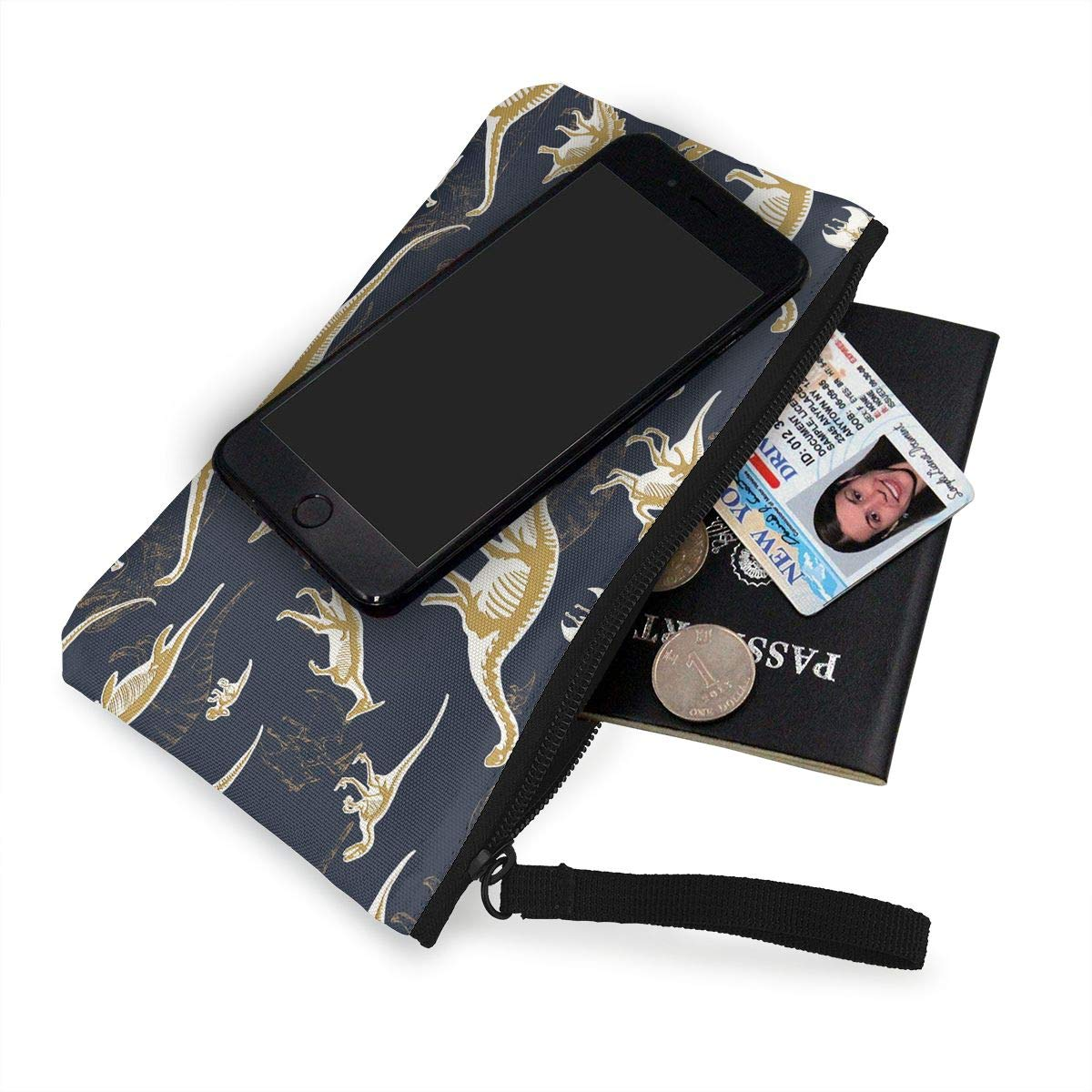 Dinosaurs and Fossils Pattern Canvas Card Wallet with Zipper for Women Bk55Oi/&/& Womens Vintage Coin Purse