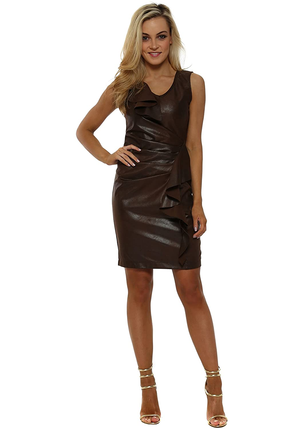 2827672cf4b Rinascimento Brown Faux Leather Waterfall Frill Pencil Dress  Amazon.co.uk   Clothing