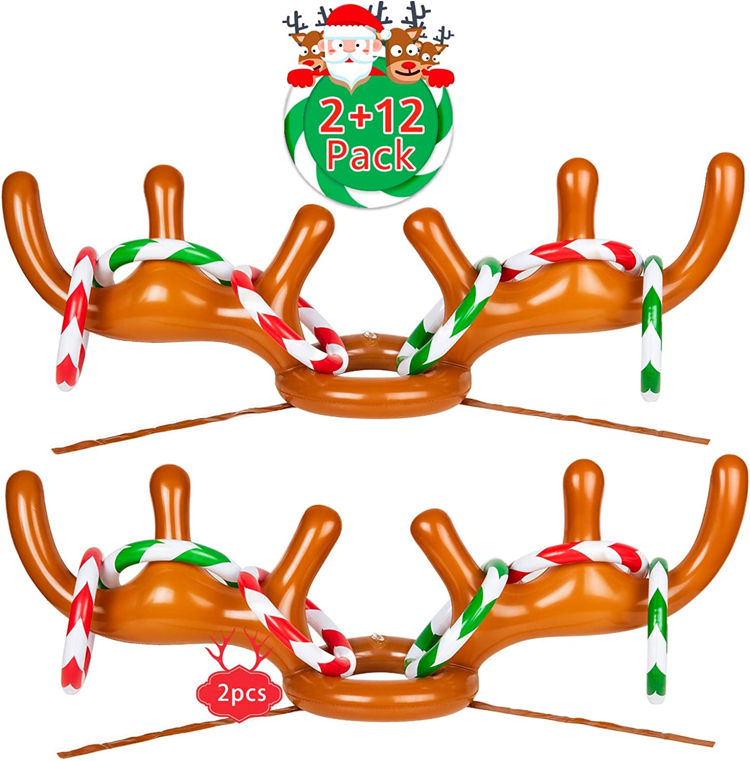Joyjoz 2 Packs Christmas Inflatable Reindeer Antler Ring Toss Game for Christmas Holiday Party, Xmas Party, 2 to 4 Players (2 Antlers & 12 Rings)