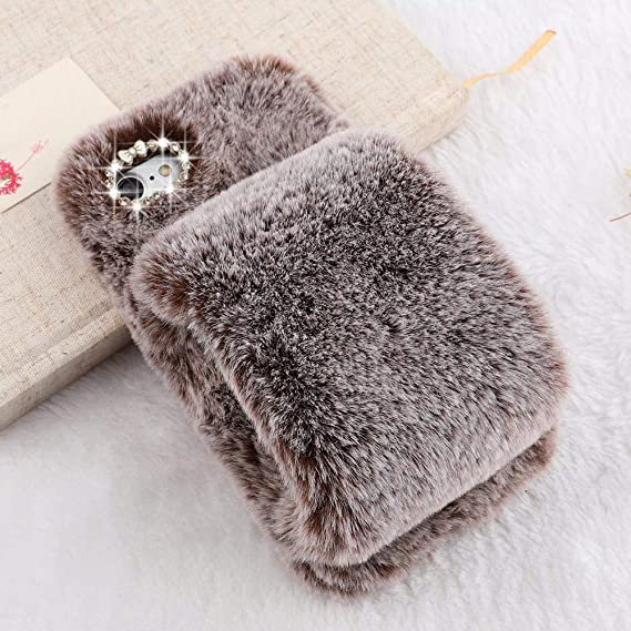 online store 9d16a 4b497 Plush Case for iPhone 6 Plus Case iPhone 6S Plus LAPOPNUT Luxury Furry  Fluffy Case Soft Faux Fur Fuzzy Mittens Design Cover with Bling Glitter 3D  ...