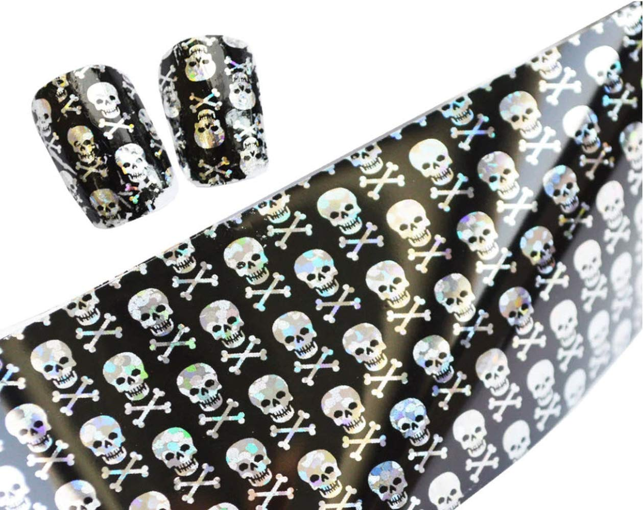 Skull Foil Glitter for Nails Punk Gothic Rockabilly Water color SKULL Nail Wrap Decals Sticker Salon Quality Nail Art - Great for Halloween! 1 Sheet Plus Size Appeal