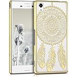 kwmobile Elegante y ligera funda Crystal Case Diseño atrapasueños para Sony Xperia M4 Aqua en oro transparente