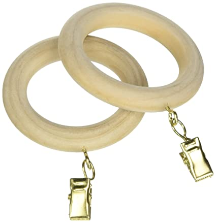 Wood Drapery Rings W Eyelet Removeable Clip