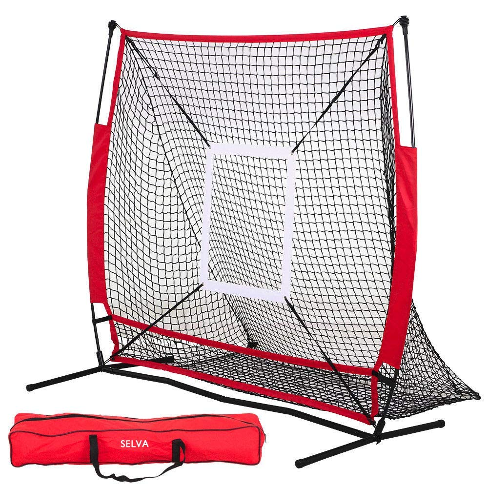 Selva 5'x5' Baseball Practice Net Pitching Batting Fielding Hitting Strike Zone Softball Thrower | Heavy Duty Sturdy Resist High Impact Fun | for Home School Balcony Yard College School Gym Training by Selva