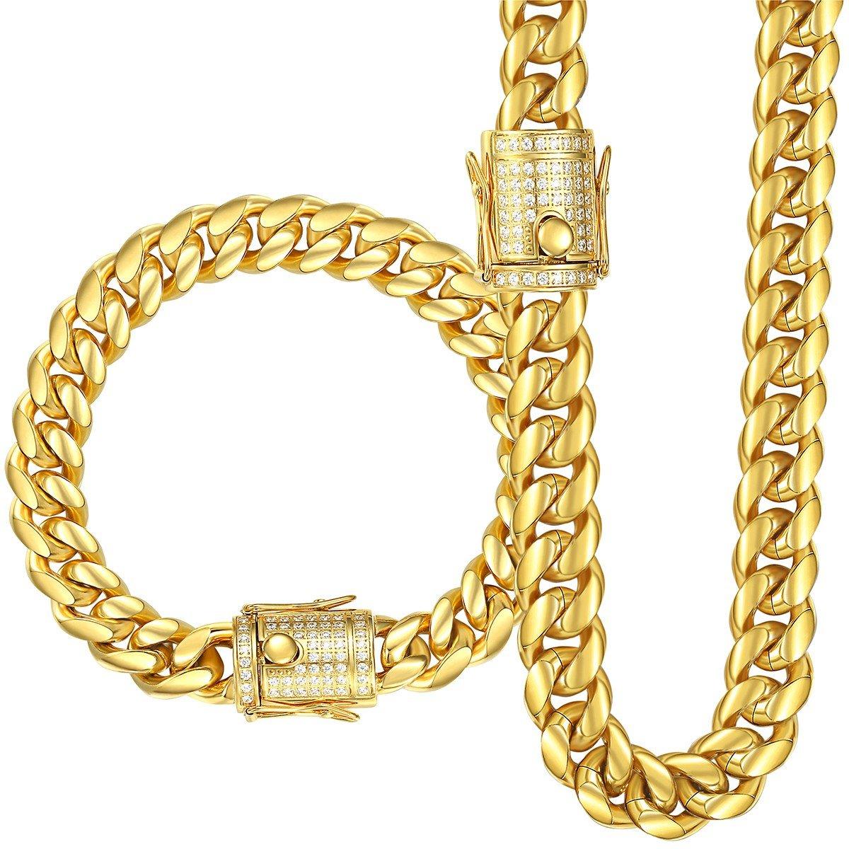 Trendsmax Miami cubano frenare collegamentoSet di gioielli catena bracciale uomo collana dorato argento Acciaio inossidabile 316L Hip Hop CZ 10-14mm HS58_930B