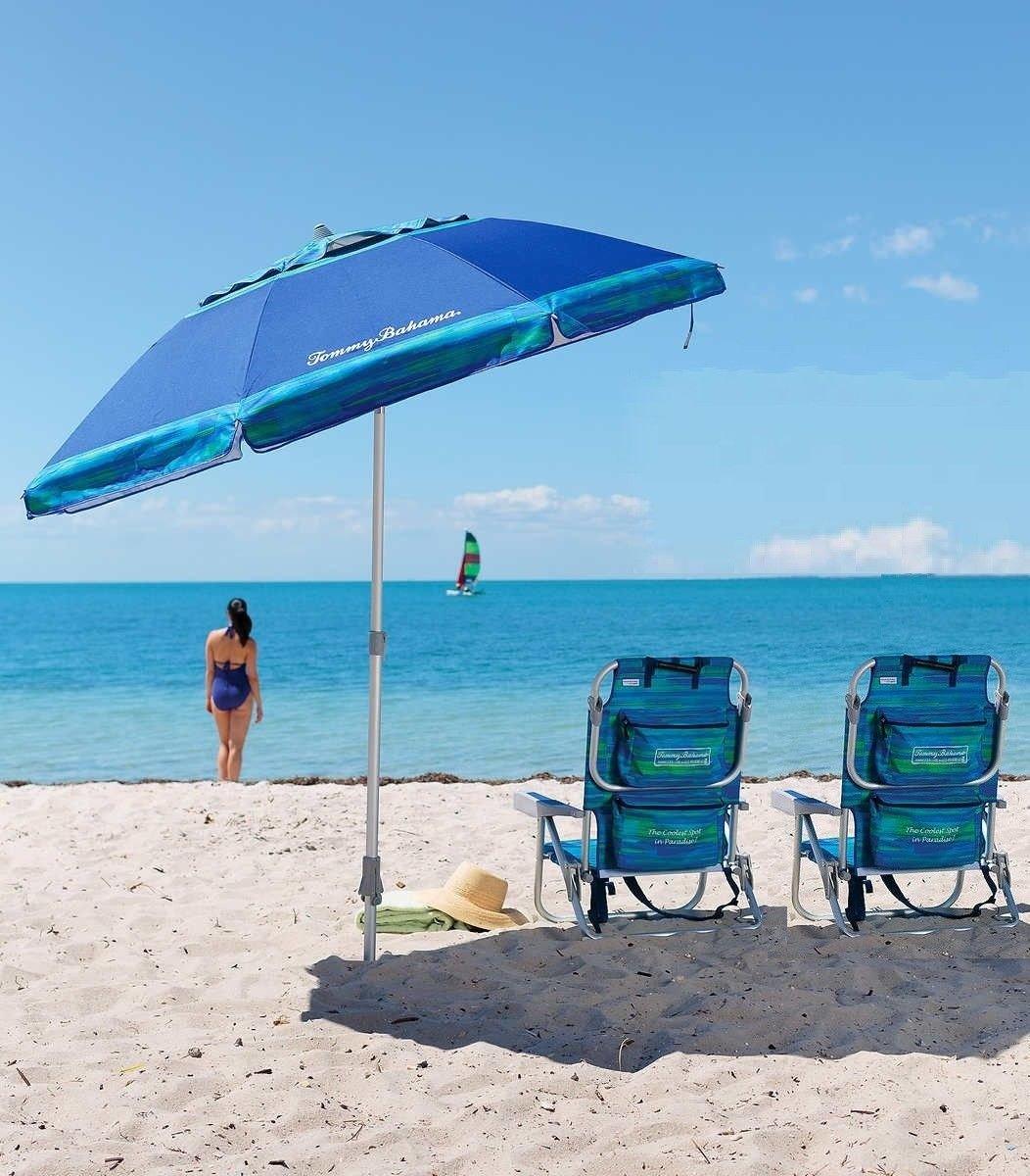 2 Tommy Bahama Beach Chairs + 7' Umbrella BLUE - 2018