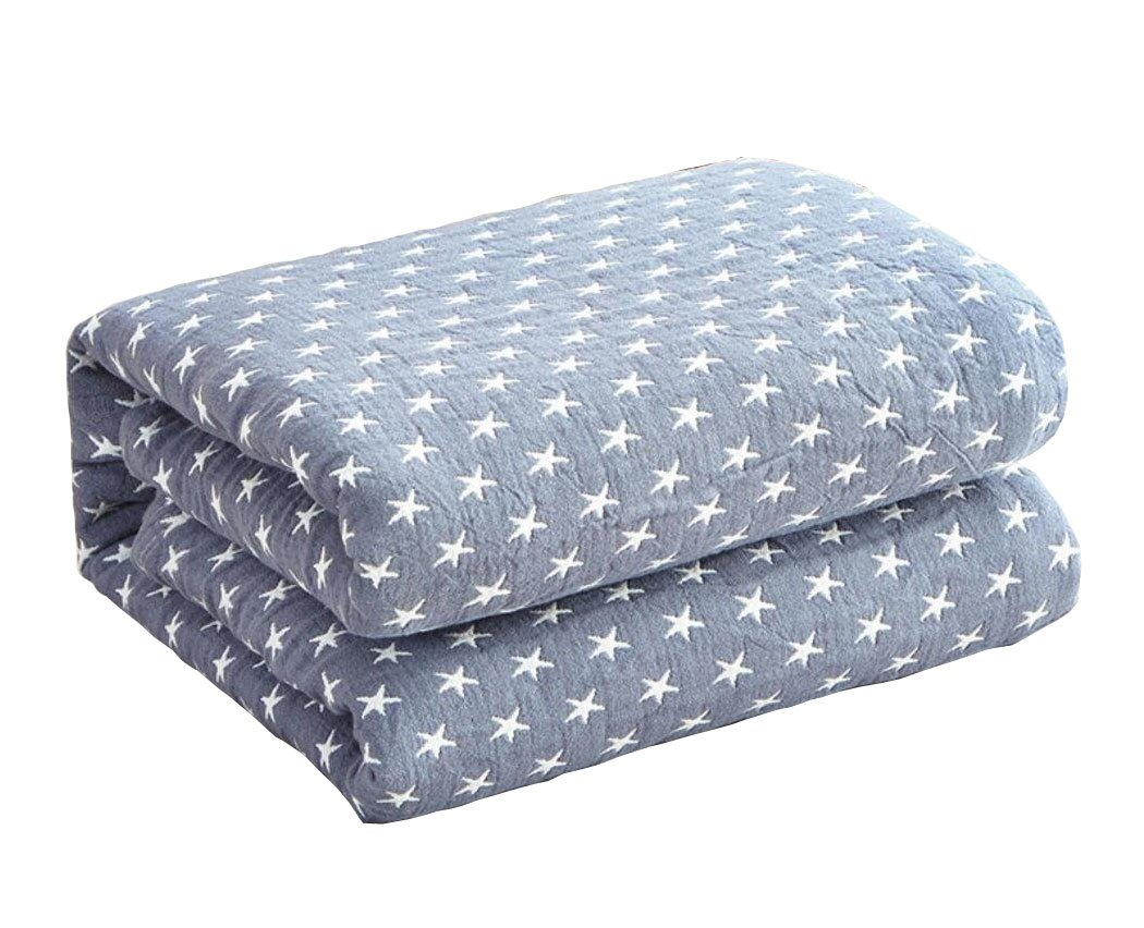 LAGHCAT Cotton Thin Quilt Comforter Super Soft Blankets Decorative Bed Blanket for Adults,Best Gift for Women (Full Size,Blue Little star)