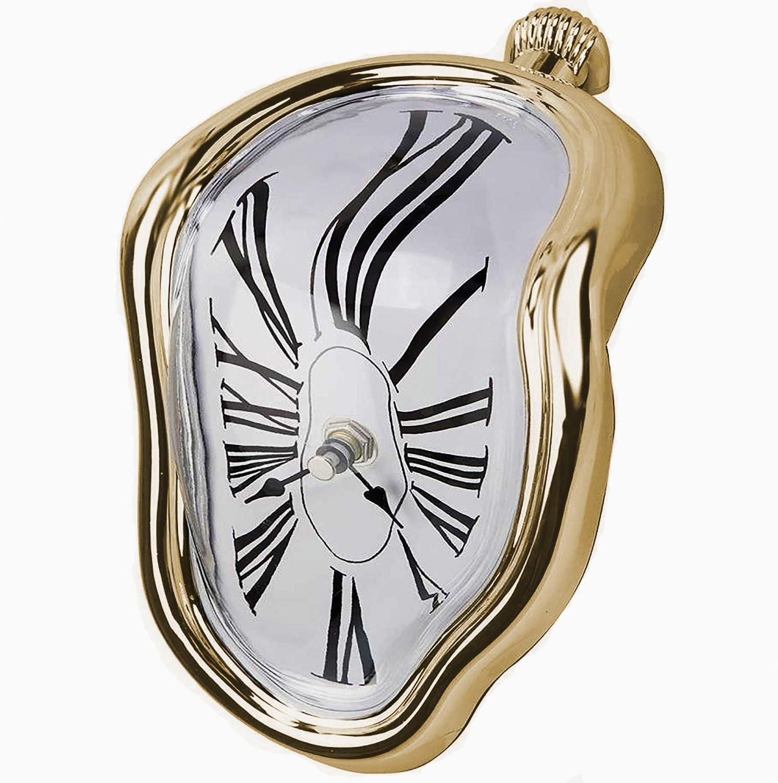 dali STYLE MELTING SHELF CLOCK  NOVELTY NEW MELTING SHELF SITTING CLOCK Gold