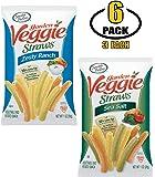 Sensible Portions Veggie Straws - Vegetable Chips in Individual Bags - Gluten Free Snacks - Office Snacks - Sea Salt & Zesty Ranch Flavor Variety Pack - BASED BOX Bundle Pack (1oz Bag, Pack of 6)