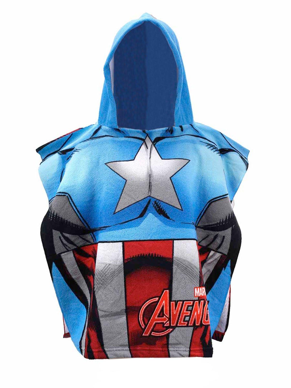 Marvel Avengers - Poncho con Cappuccio Accappatoio Asciugamano Mare Piscina - Bambino - Captain America - Prodotto Originale 820-822 5991328208221