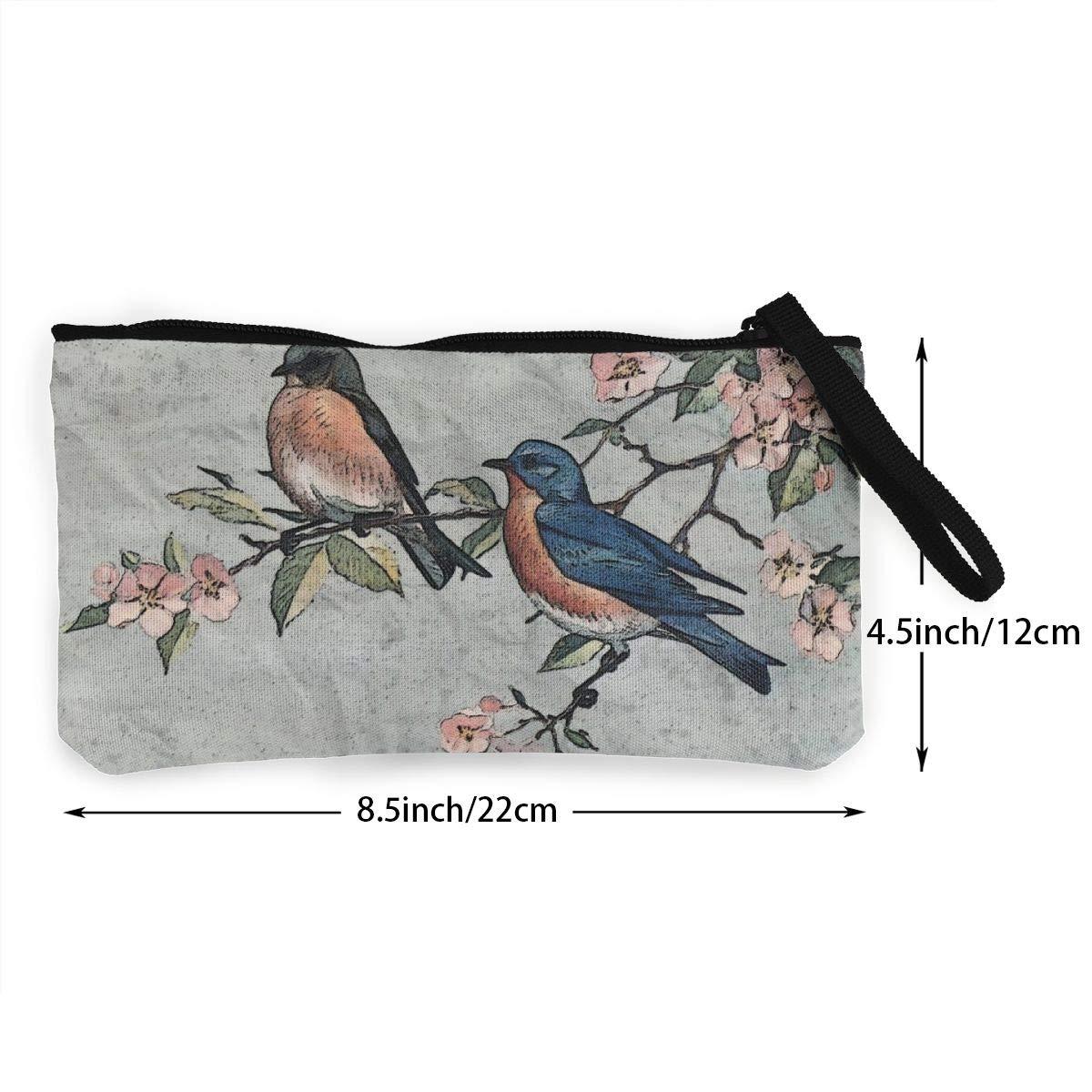 Make Up Bag,Cellphone Bag With Handle Eastern Bluebirds Wildlife Zipper Canvas Coin Purse Wallet